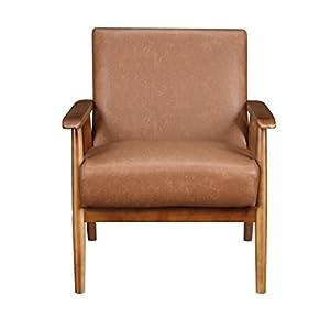 Pulaski DS-D030003-329 Wood Frame Faux Leather Accent Chair, 25.38″ x 28.0″ x 30.5″, Cognac Brown