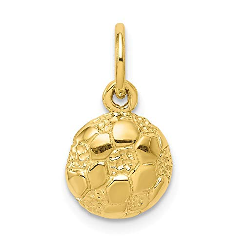 10k Yellow Gold Soccer Pendant Charm Necklace Sport Fine Jewelry Gifts For Women For Her - Gold 3d Football Charm