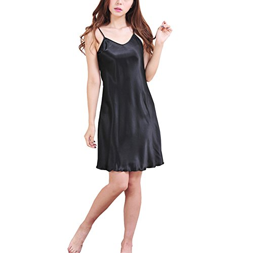 Toponechoice Summer Sexy Solid V Neck Chemise Satin Nightgown Sleepwear (2-4, Black)