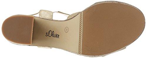s.Oliver 28308, Sandalias con Cuña para Mujer Dorado (GOLD METALLIC 944)