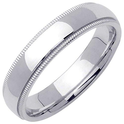 mens platinum milgrain ring - 6