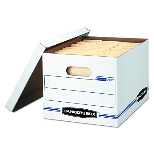 Bankers Box STOR/FILE Storage Boxes, Standard Set-Up, Lift-Off Lid, Letter/Legal, Case of 12 (00703)