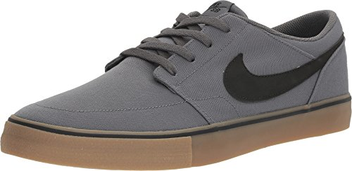 Brown Nike Sb - Nike Men's Portmore II Solar CNVS Skate Shoe Dk Grey Black Gum Light Brown 13