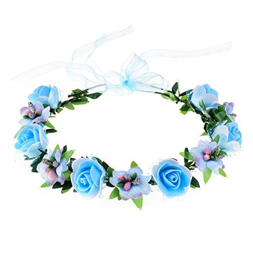 June Bloomy Rose Floral Crown Wreath Girls Flower Headband Boho Garland Halo Headpiece (Blue)