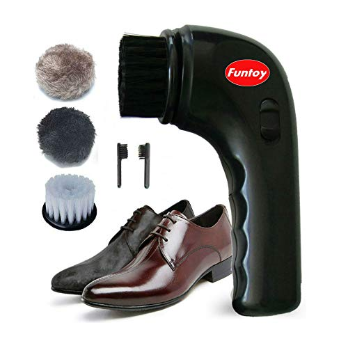 Electric Shoe Shine Kit,Funtoy Electric Shoe Polisher Brush Shoe Shiner Dust Cleaner Portable Wireless Leather Care Kit for Shoes, Bags, Sofa (Black)
