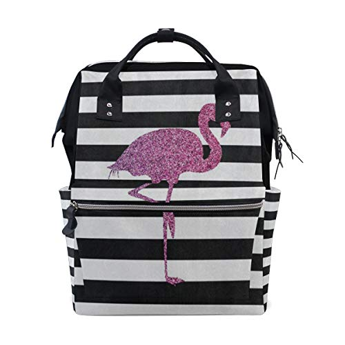 (Diaper Bags Summer Tropical Animal Flamingo Stripe Fashion Mummy Backpack Multi Functions Large Capacity Nappy Bag Nursing Bag for Baby Care for Traveling)