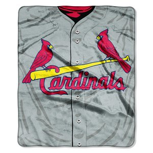 MLB St. Louis Cardinals Jersey Plush Raschel Throw, 50
