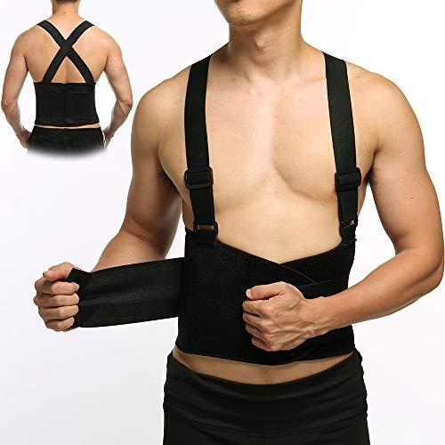 (KIWI RATA Back Brace Support Belt with Suspenders Back Brace - Removable Shoulder Straps Lumber Belt for Lifting, Weightlifting Work, Lower Back Pain - Unisex Size for Men & Women)