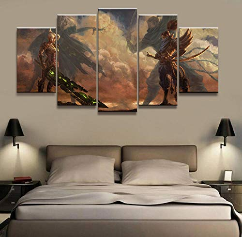 HNFSCLUB 5 Panels Online APP Game Scene Canvas Printed Painting for Living Room Wall Art Decoration HD Photo Works Poster-FrameB (Best Dota 2 App)