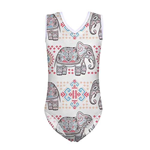 FOR U DESIGNS Rash Guard Athletic One Piece Swim Suit for Girls Elephant Tribal Printed Toddler Swim Suit Beach 9-10 Years