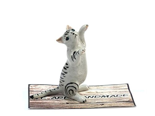 Handmade Cat Animal Porcelain Ceramic Figurine Figure Miniature Doll house – No.1