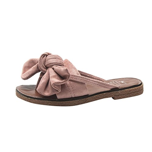 Muium Women Fashion Sandals, Ladies Bow Tie Flat Heel Sandals Solid Color Beach Casual Slippers Shoes Pink
