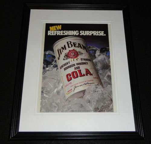 1985-jim-beam-whiskey-cola-framed-11x14-original-advertisement