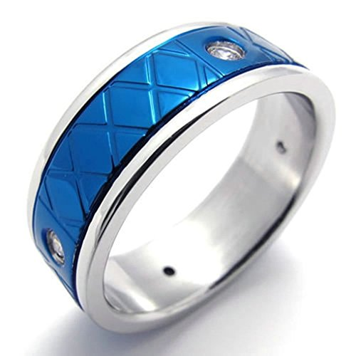 gnzoe-jewelrymens-stainless-steel-rings-bands-polishing-blue-silver-size-13