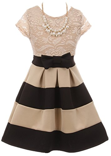 BluNight Collection Dainty Lace Bow Stripe Necklace Big Girl Flower Girls Dresses (20JK16S) Black Taupe 10