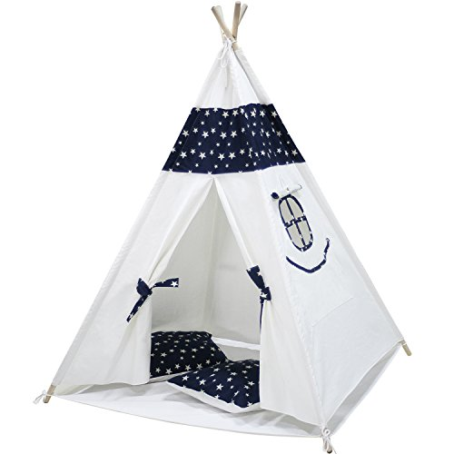 Touch-Rich 6FT Durable Teepee for Kids, Indian Play Tent, Sturdy & Safe Kids Furniture with Window & Floor, Including Style Matching Accessories & Two Pillowcase(Navy Blue)