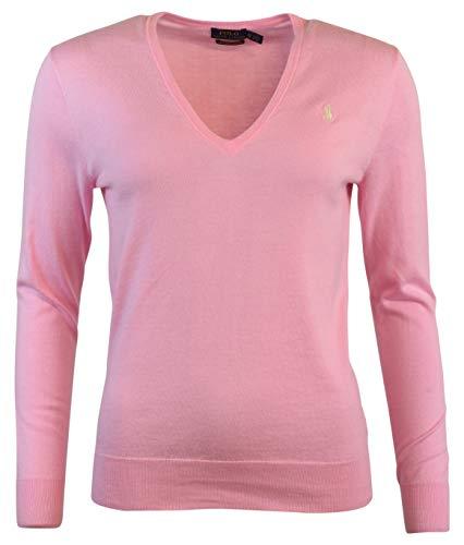 - Polo Ralph Lauren Womens Pima Cotton V-Neck Logo Sweater - L - Tay Rose