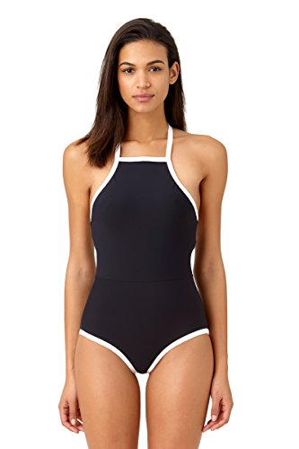 Anne Cole Studio Women's Beach Bound Solid High Neck One Piece Swimsuit-14-AC15_BKWH