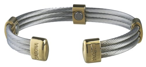 (Sabona 36370 Trio Cable Stainless/Gold Magnetic Bracelet, Large)