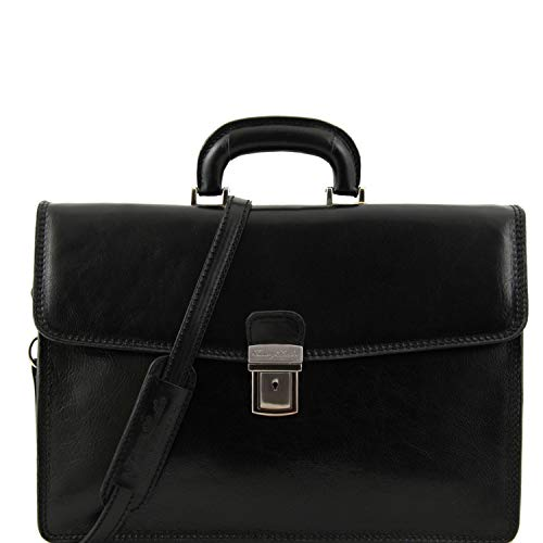 Tuscany Leather - Amalfi - Leather briefcase 1 compartment Black - TL10050/2
