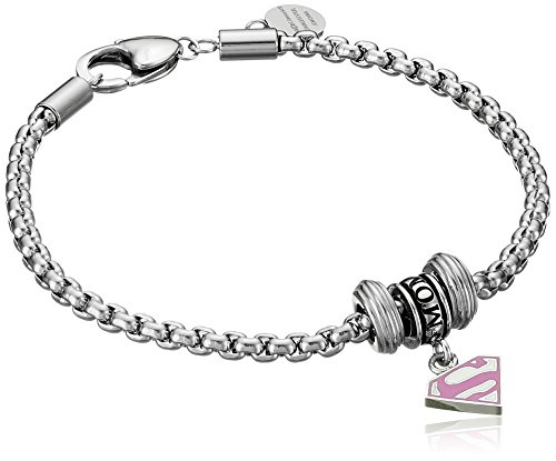 DC Comics Stainless Steel Pink Superman Bead Charm Bracelet, 7.5