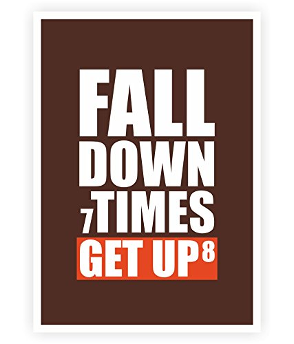 LAB NO 4 Fall Down 7 Times Get up 8 Gym Motivating Quotes Poster in A3 (16.5