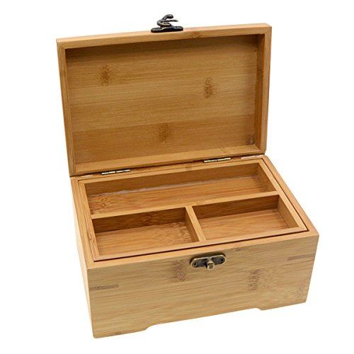 Saim Bamboo Two-Layer Jewelry Box Organizer Tray Storage
