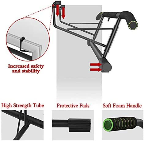 SIEBIRD Pull Up Bar for Doorway with Mount Hook - Chin Up Bar No Screws - Angled Grip Home Gym Exercise Equipment - Portable Pullup Bar Upper Body Workout Bar with Bonus Resistence Band 5