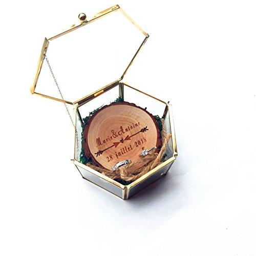 (sendinglove Personalized Rustic Ring Box, Moss Ring Box, Geometric Wedding Band Box, Ring Bearer Box, Glass Jewelry Box, Bridesmaids Proposal Box)