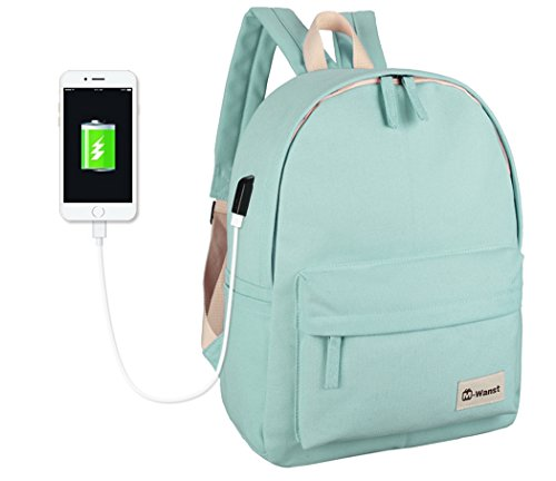 Veenajo Canvas Backpack For School Travel Daypack Laptop Bag With Usb Charging Port