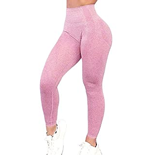 Yaavii Seamless Workout Leggings for Women High Waisted Butt Lifting Gym Yoga Pants Tummy Control Sports Tight Activewear Pink
