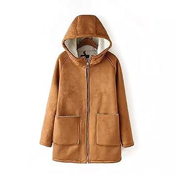 GS ~ LY Mujeres Abrigos/completo tono color con capucha de abrigo/Cordero ante abrigo de lana, KHAKI-S: Amazon.es: Deportes y aire libre