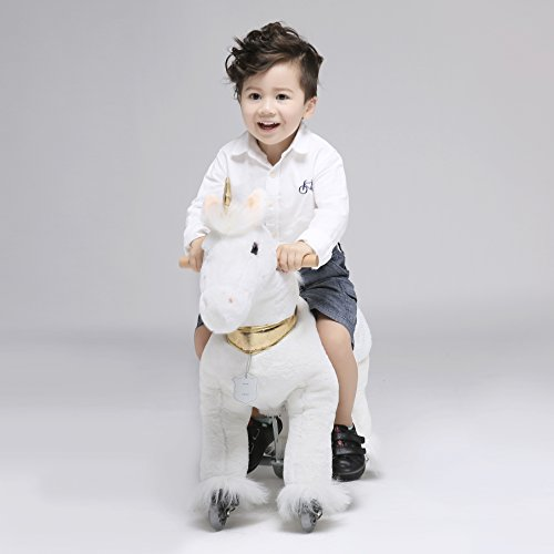 UFREE Horse Action Pony, Walking Horse Toy, Rocking Horse with Wheels Giddy up Ride on for Kids Aged 3 to 5 Years Old, Unicorn with Golden Horn - Hobby Rocking Horse