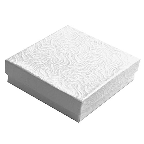100 Cotton Filled Boxes Size 33, 3.5'' x 3.5''x 1'' , White size #33 by Jewelers Supermarket by Jeweler's Supermarket