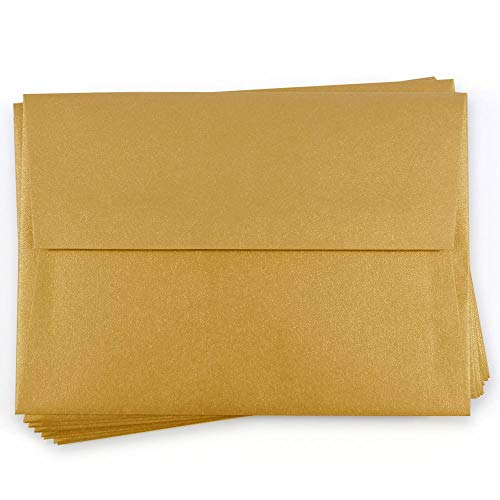 A6 Stardream Antique Gold Envelopes - Straight Flap, 81T, 25 - Metallic A6 Envelopes Stardream
