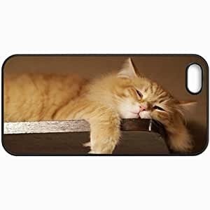 Customized Cellphone Case Back Cover For Case For Iphone 5/5S Cover , Protective Hardshell Case Personalized Lazy Cat Pictures Design Black