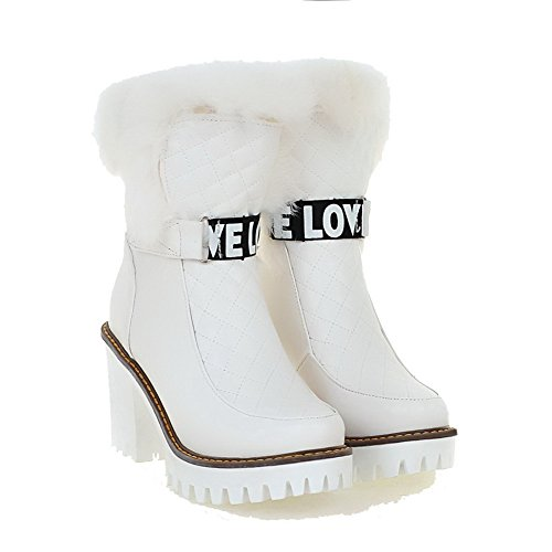 Women's on Heels Assorted Low White Boots Color Soft Allhqfashion High Material Pull top USxd0