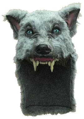 Gray Wolf Mask Helmet with Faux Fur for Halloween Party]()