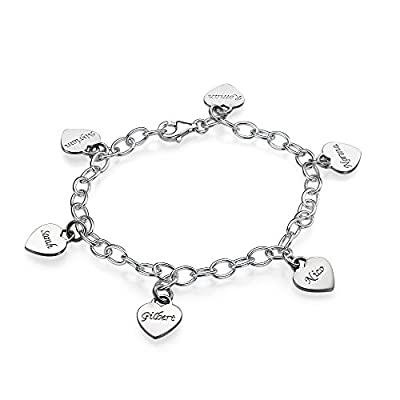 Sterling Silver Mother's Personalized Heart Charm Bracelet - Custom Made with up to 6 Names!