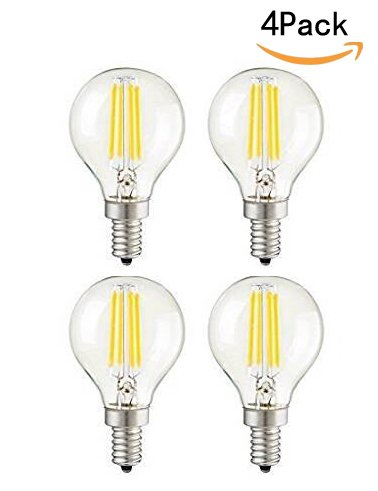 CTKcom G45 4W Candelabra LED Bulbs Dimmable(4 Pack)- E14 Base Vintage Edison Incandescent Bulb 40W Equivalent 2700K Warm White Lamp for Home,Pendant Lights,Sconces,Antique Light Fixtures 110V~130V AC