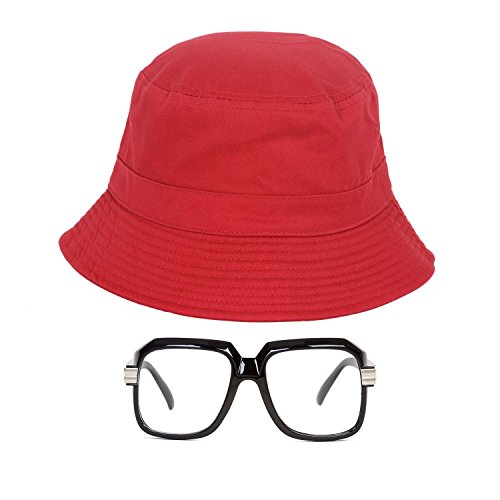 80s/90s Hip-Hop Costume Kit (Bucket Hat + Old School Squared Glasses) Red L/XL