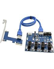 BTUWRUI Lägg till kort PCIe 1 till 4 PCI Express Riser kort ITX till extern 4 PCI-E plats PCIe port multiplikatorkort