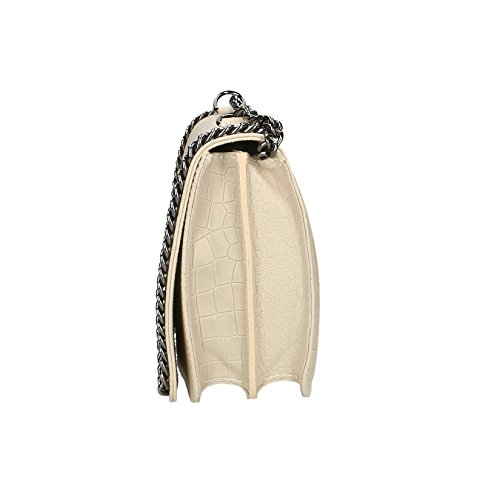 Beige avec Chicca 30x20x10 Borse in Italy cm en sac Motif bandoulière bandoulière véritable Clutch Femme à cuir Croco Made Petit q04rTHgpq