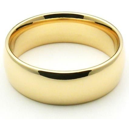 14k Yellow Gold 6mm Comfort Fit Dome Wedding Band Heavy Weight - Size 9.25