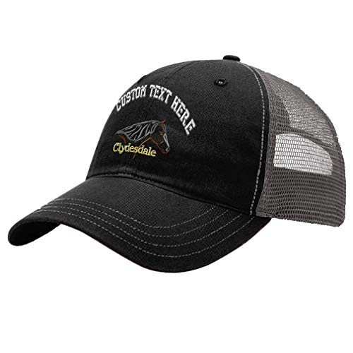 (Custom Animal Horse Clydesdale Unisex Adult Snaps Cotton Richardson Unstructured Front and Mesh Back Cap Adjustable Hat - Black/Charcoal)