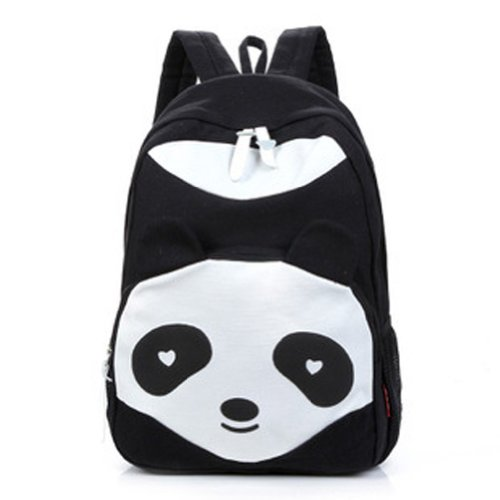 Gleader De la Mujer Panda Style Mochila Bolsas Escuela lienzo Bookbag Mochila - Negro