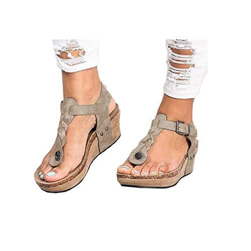 Women's Aditi Low Wedge Dress Sandals Casual Flip Flops Buckle Strap Wedges Sandals Platforms Shoes Beige