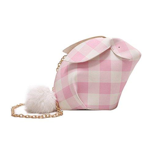 GJ Sac à bandoulière - paquet de treillis femelle animaux sac à bandoulière portable sac de loisirs sacs de voyage sacs de dame de la mode (Couleur : Blue, taille : 18 * 3 * 16.5cm) Pink