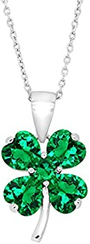 Shamrock Clover Pendant with Green Cubic Zirconia in Sterling Silver
