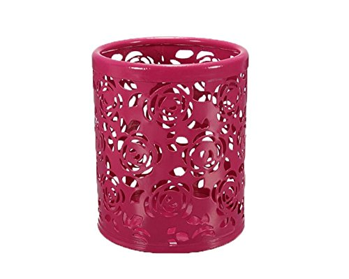 Water & Wood Hollow Rose Flower Pattern Cylinder Pen Pencil Pot Holder Container Organizer Red (Hollow Pattern Flower)